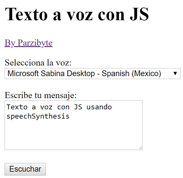 Conversor texto a audio con JavaScript