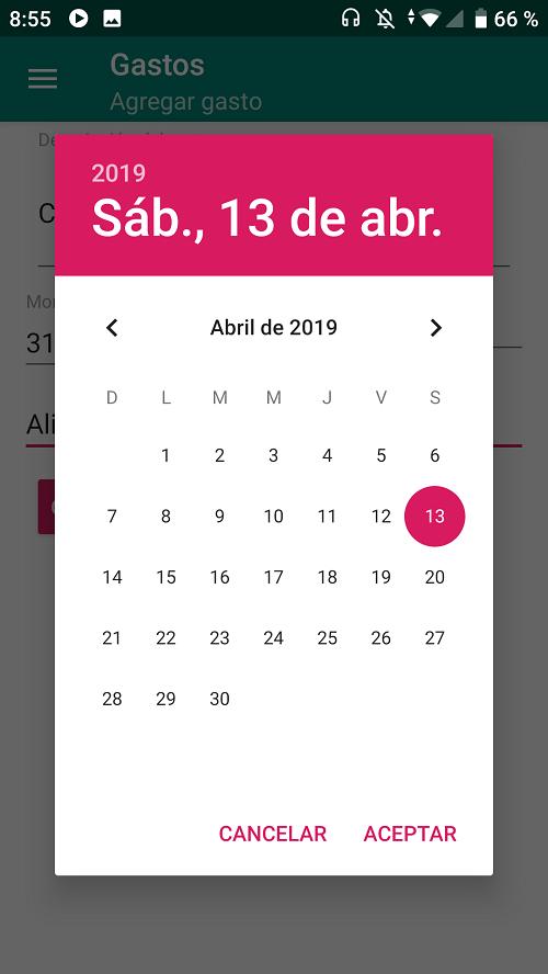 DatePicker para seleccionar fecha de gasto o ingreso
