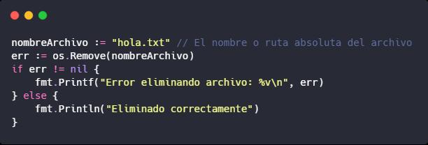Eliminar archivo en Go