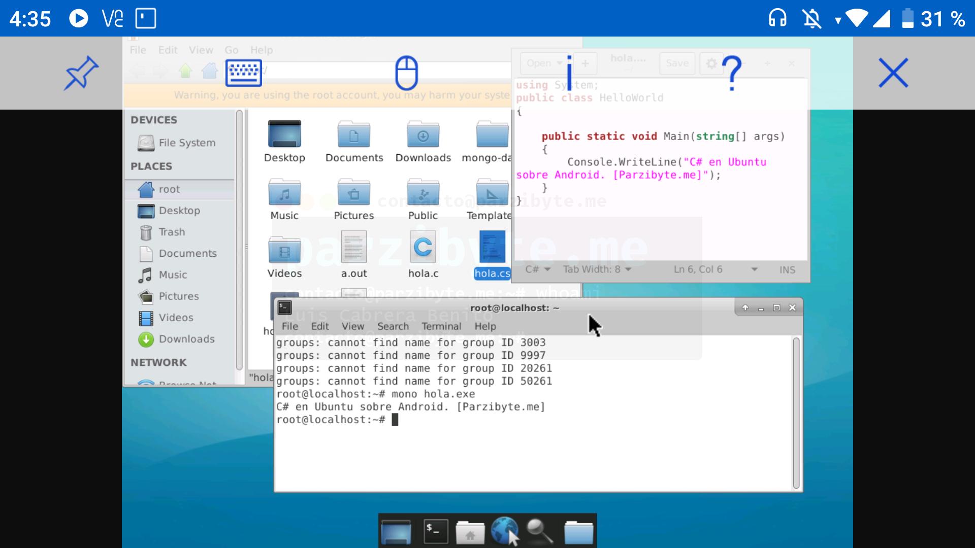 Escritorio xfce4 en Ubuntu sobre Android - VNC Android