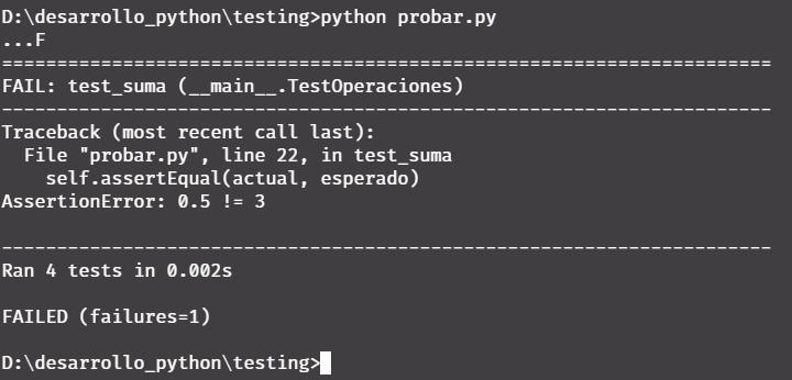 Fallar test en Python - Unittest