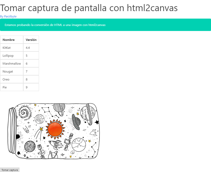 HTML convertido a imagen con html2canvas