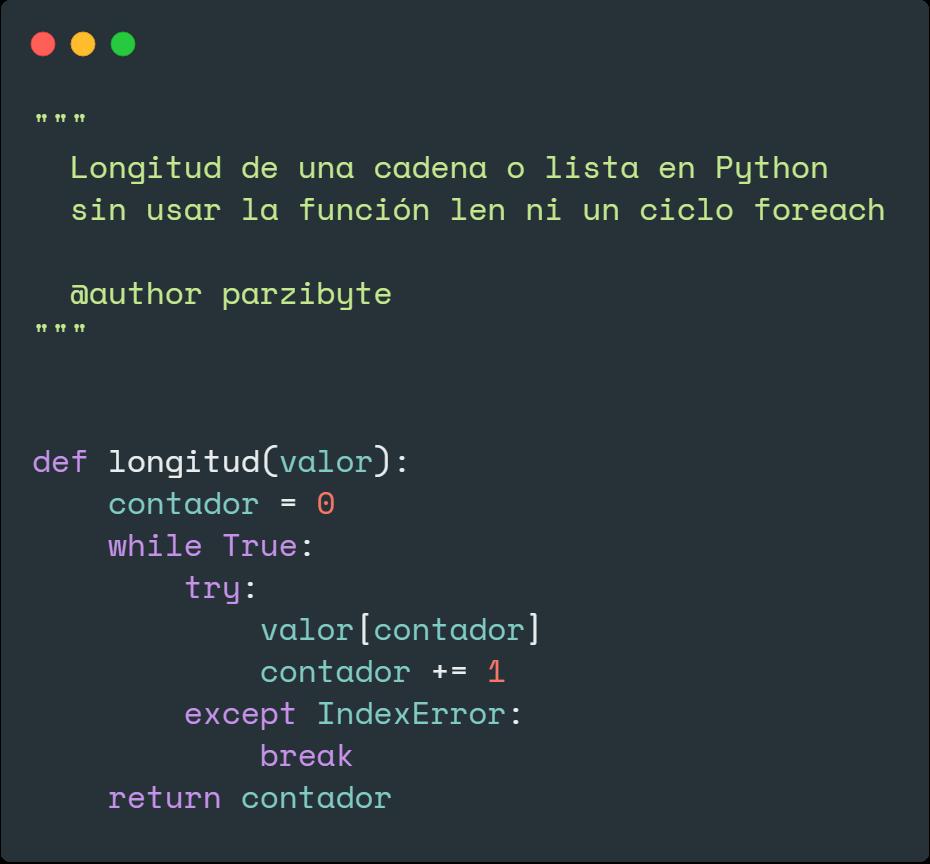 Longitud en Python sin usar len