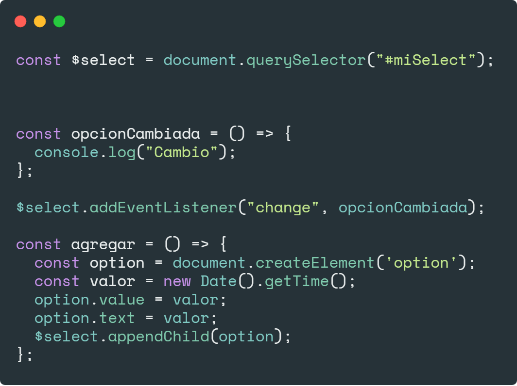 Manipular select con JavaScript puro