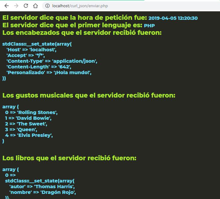PHP y cURL - petición con JSON