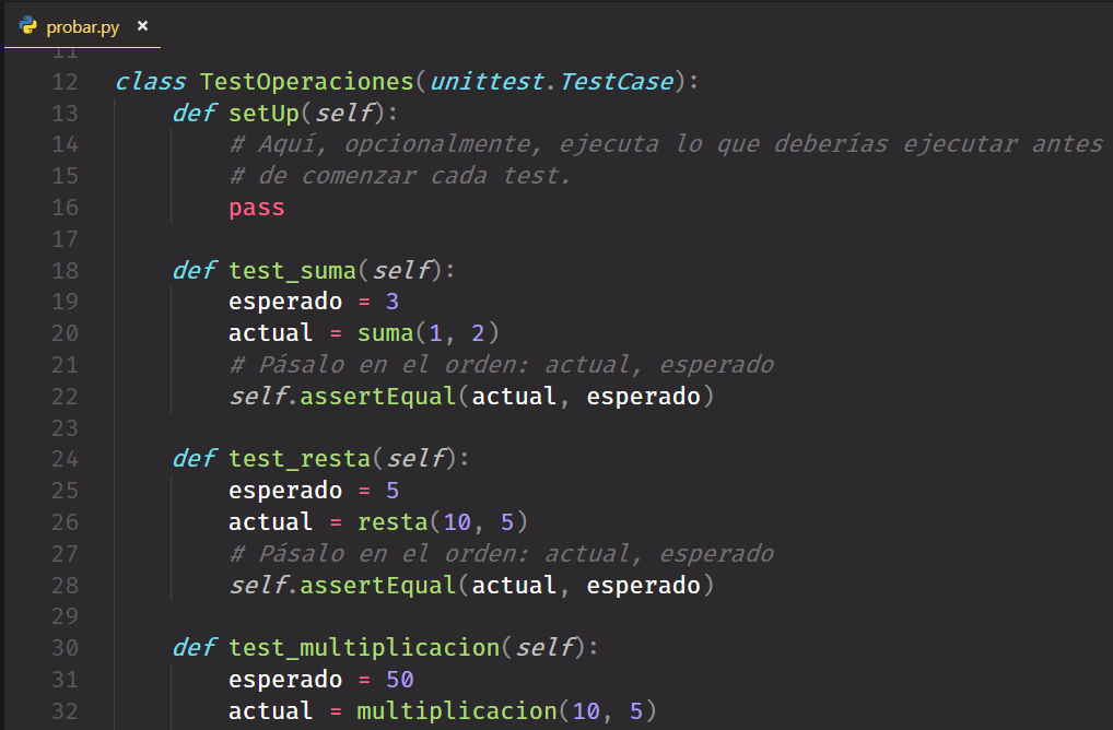 Pruebas unitarias con Python y el framework unittest