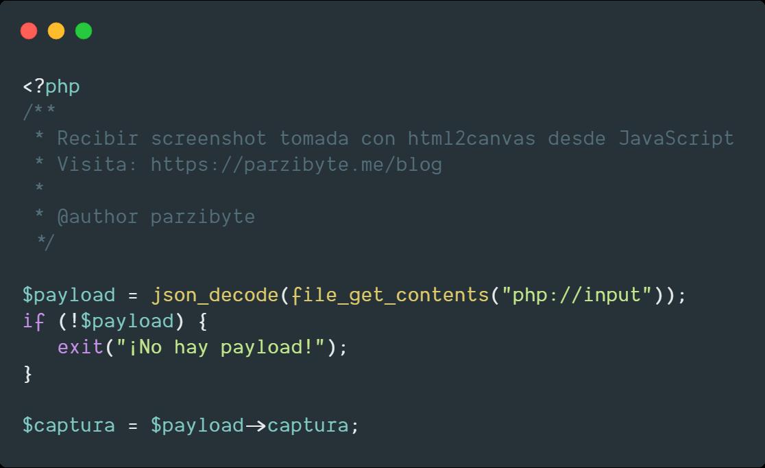 Screenshot de página web con PHP y JavaScript