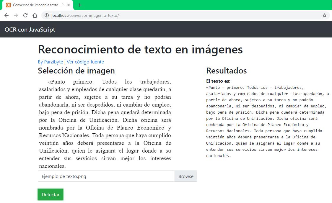 Conversión de imagen a texto