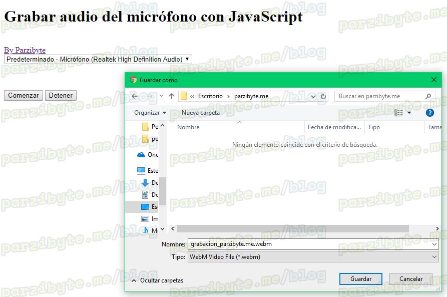 Descargar audio grabado con JavaScript
