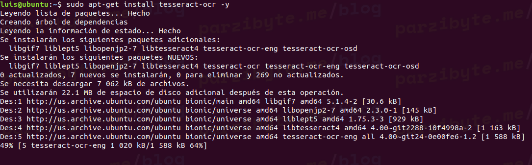 Instalar Tesseract OCR + Idioma español en Ubuntu