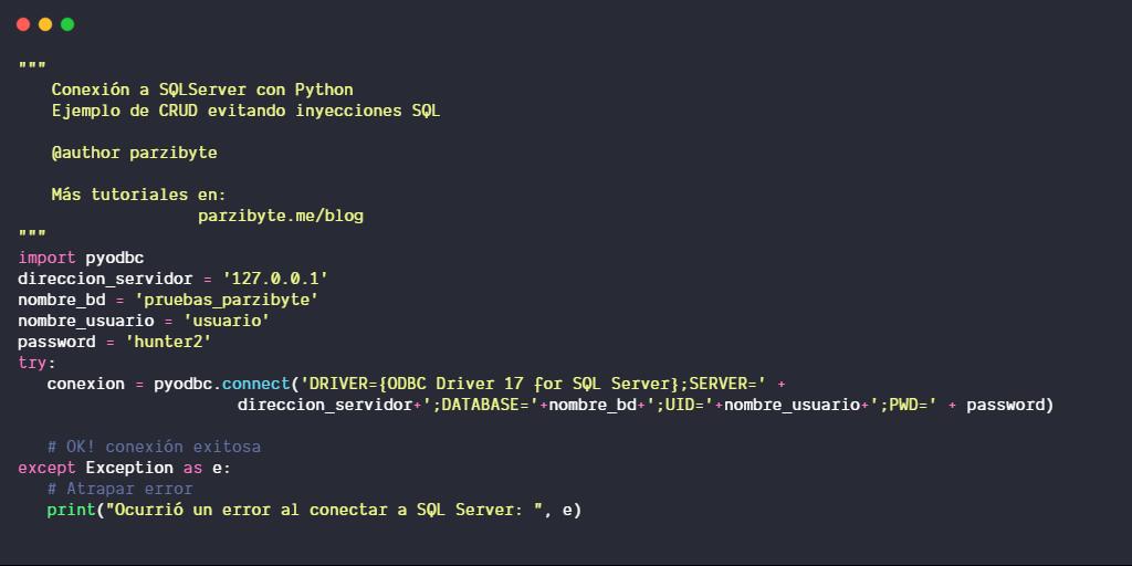 Conexión a SQL Server con Python y PyODBC (CRUD