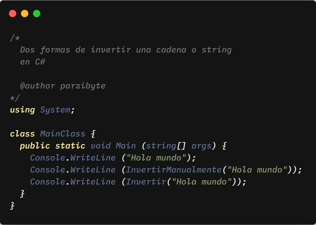 Invertir cadena con C#