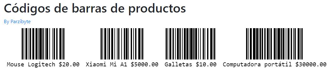 Códigos de barras con JavaScript - Productos