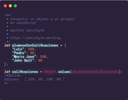 Objeto a arreglo en JavaScript usando Object.entries, values y keys