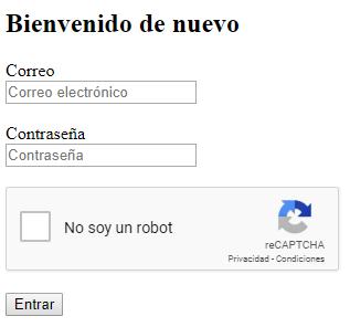 Formulario con reCAPTCHA v2 - No soy un robot