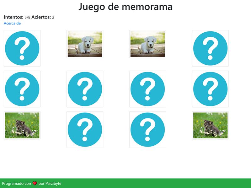 Juego de memorama en JavaScript