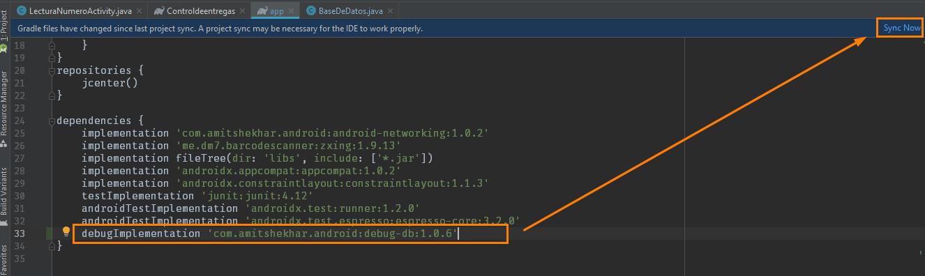 Dependencia en Android Studio para Depurar bases de datos en Android