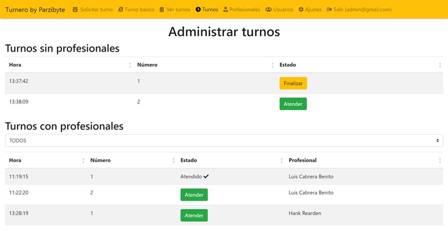 Administración de turnos dentro del software Turnero
