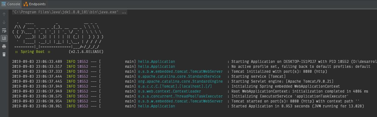 Ejecutando App de Spring Boot en la terminal de IntelliJ IDEA