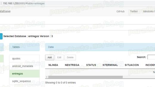 Explorando base de datos Android desde el navegador