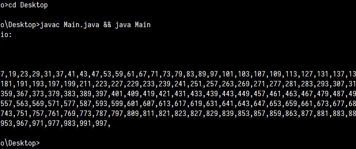 Imprimir números primos dentro de rango en Java