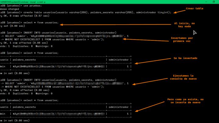 Insertar si no existe en SQL