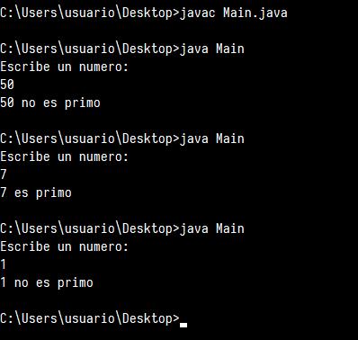 Número primo en Java