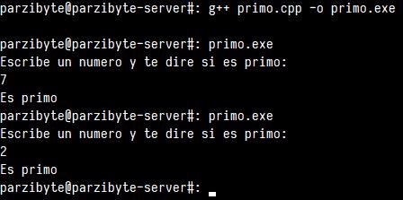 Probando función de número primo en C++