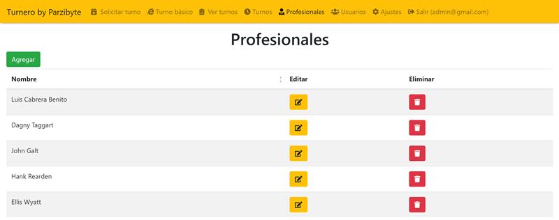 Profesionales o encargados de atender en software turnero