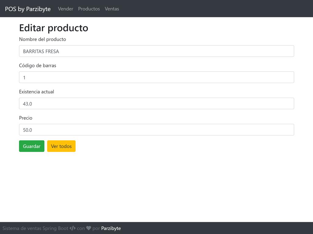 Sistema de ventas con Spring - Editar producto