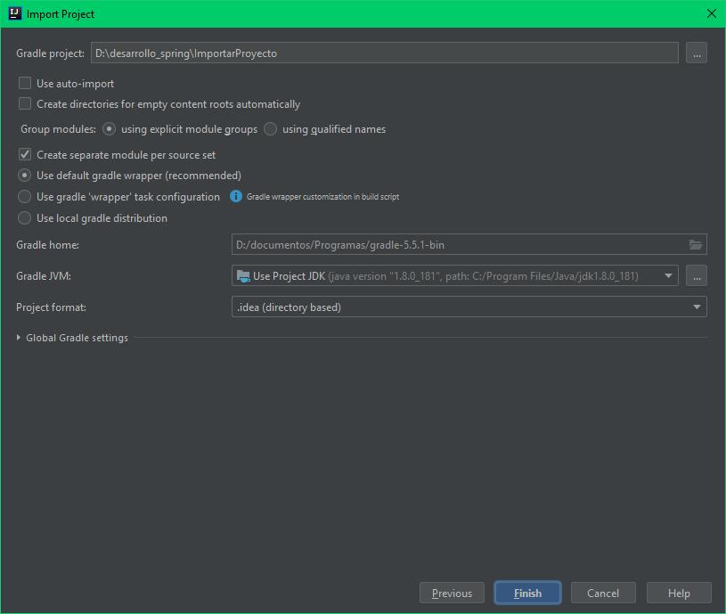 Terminar importación de proyecto de Spring Boot en IntelliJ IDEA