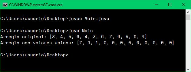 Valores únicos de arreglo con Java