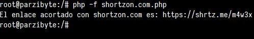 Acortar con shortzon usando PHP