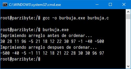 Ejecución de Burbuja en C