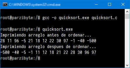 Ejecución de Quicksort en C