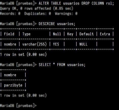 Eliminar columna de tabla en MySQL