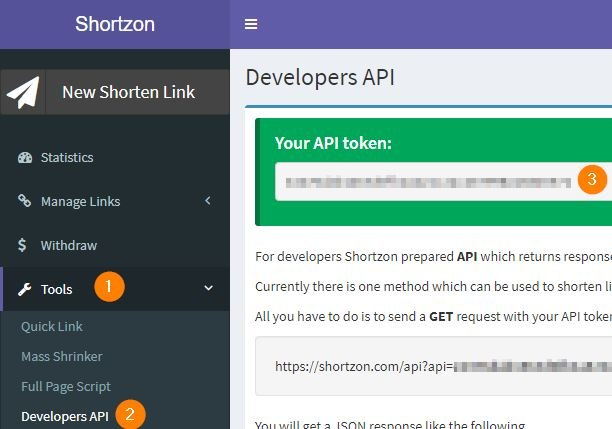 Obtener Token de shortzon.com para consumir API