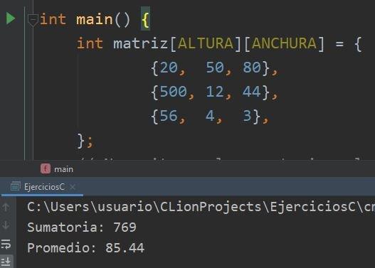 Sumatoria y promedio de matriz en C