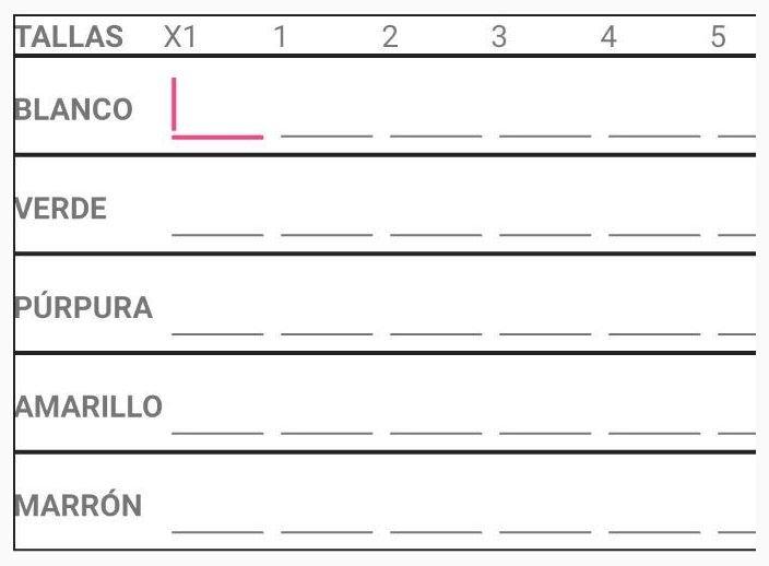 TableLayout dinámico con Android - Ejemplo de tabla