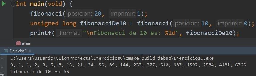 Fibonacci iterativo en C
