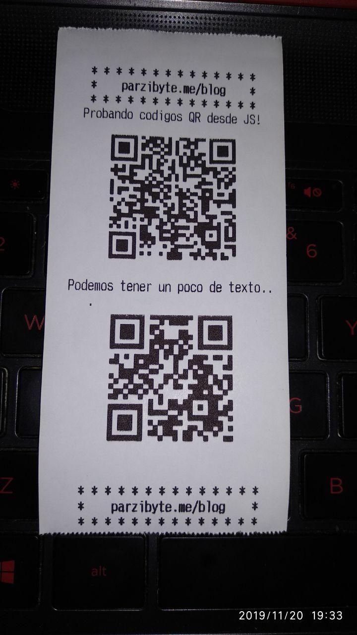 Imprimir códigos QR en impresora térmica