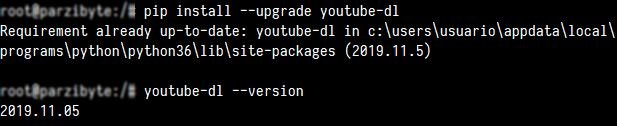Instalando youtube-dl con pip y revisar versión