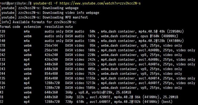 Listar formato y resolución de vídeo con youtube-dl
