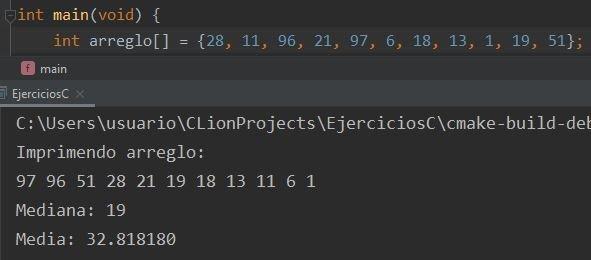 Media y mediana en C usando arreglo y qsort