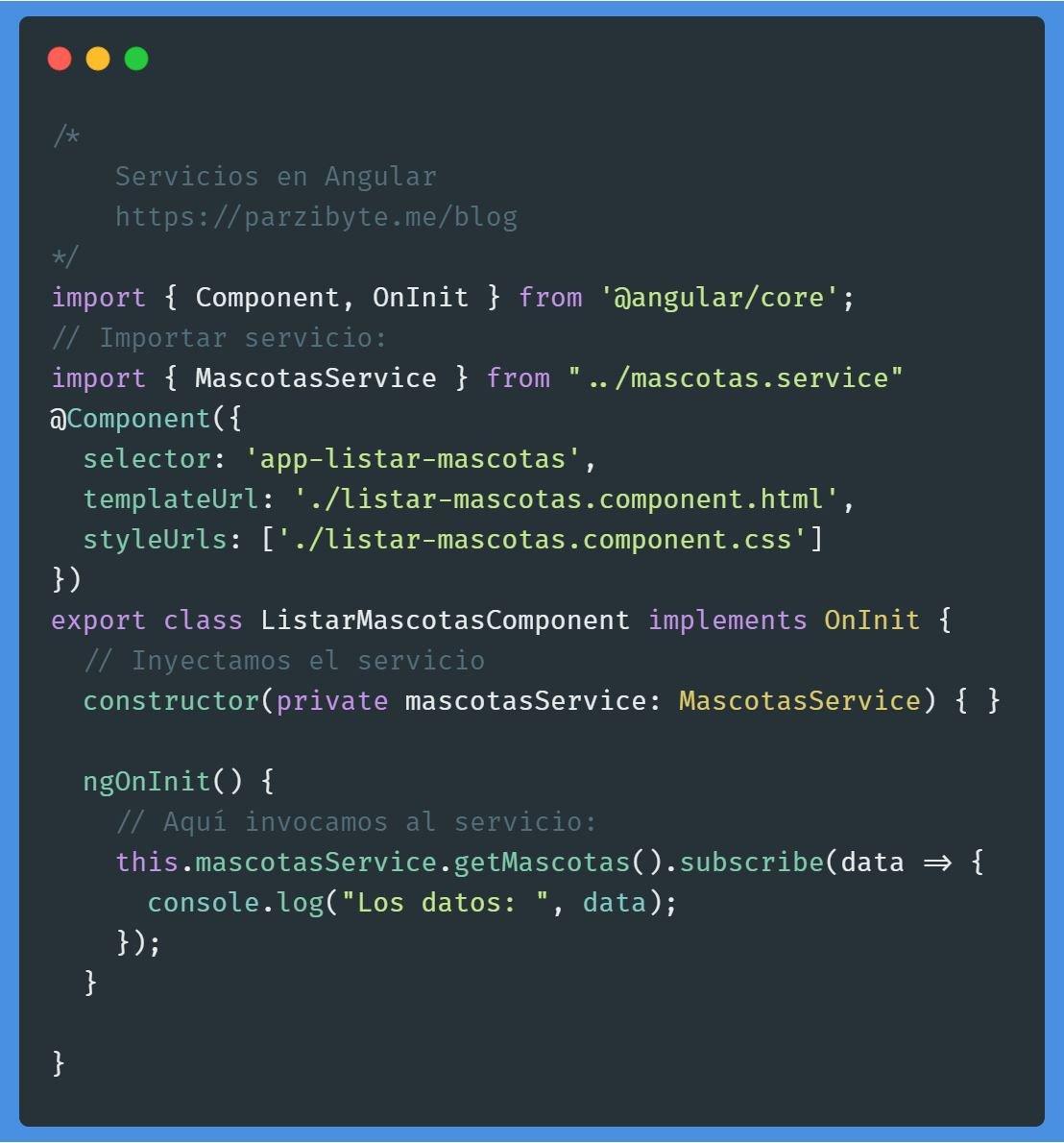 Servicios en Angular - Ejemplo