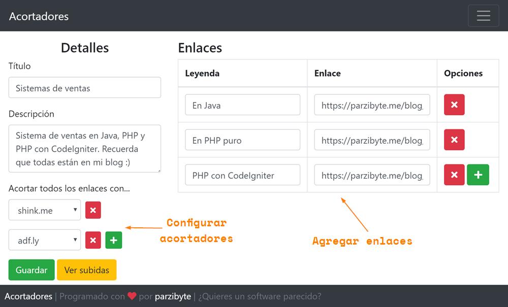 Agregar contenido con enlaces que se acortan automáticamente según configuración