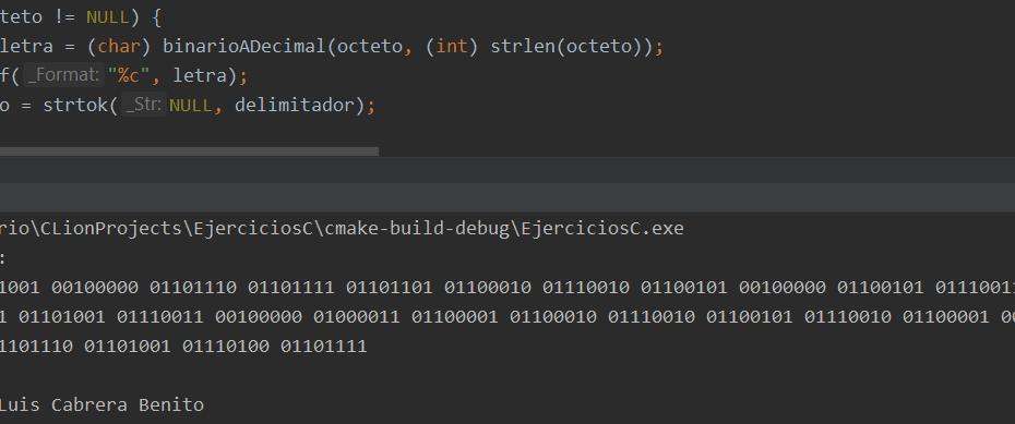 Binario a texto en C - Demostración de traductor