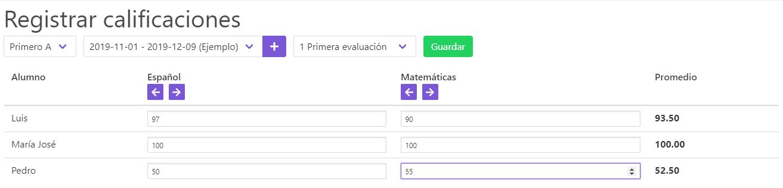Calificaciones - Mostrar materias y calcular promedio de cada alumno