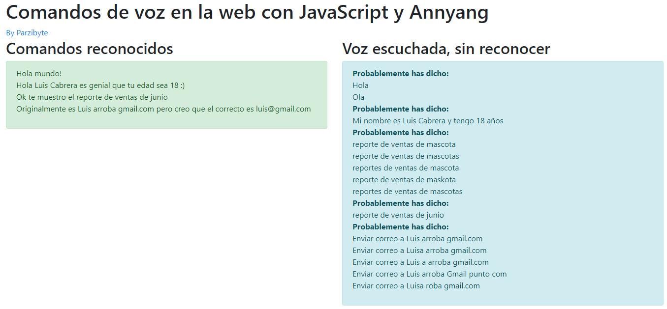 Comandos de voz en la web con JavaScript y Annyang - Demostración