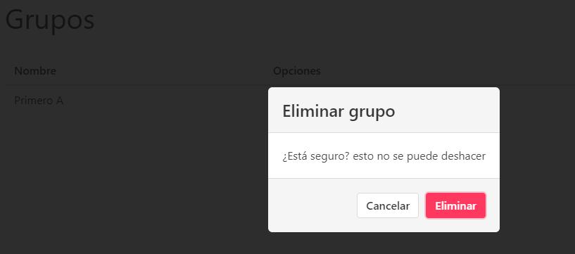 Confirmación para eliminar un grupo